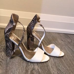 White and tan snakeskin heels